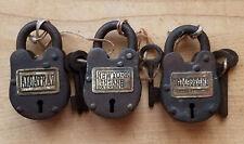 3 Locks Alcatraz Prison, Tombstone & Ny Insane Asylum Iron Locks With 2 Keys