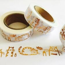 ANIMAL WASHI TAPE: ADORABLE ROSE GOLD FOIL CATS WASHI TAPE- NEW