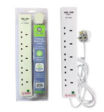 PIFCO 5 GANG 2M EXTENSION LEAD WITH DUAL USB SURGE PROTECTED 5 WAY 2 Meter LEAD