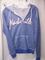 Nashville TN Womens SPELL OUT Hooded Sweatshirt Hoodie Blue Grey Small Country
