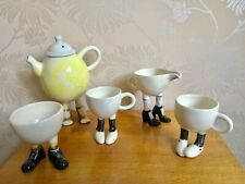 Lustre Pottery Walking Ware Roger Michell Studio FRENCH SET Teapot Shoes 5 ITEMS