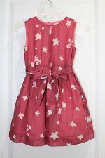 New J CREW CREWCUTS Girls Pink LEAF PRINT DRESS Sz 4 - 5 Waist Sash