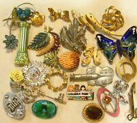 Vintage Brooch LOT 25 Pc Rhinestone Enamel Stone Butterfly Flowers Mixed #2