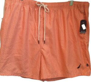 NAUTICA SWIM TRUNKS Quick Dry Adult Size XXL Lined Orange Geometric 8NQ Fireside
