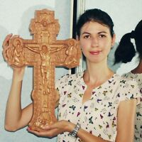 "Jesus on the Cross (ID2) Wood Orthodox religious Carved Crucifix (20""x12.5"")"