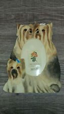 Beautiful Yorkshire Terrier Dogs Figures Picture Frame Nib