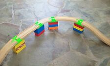Custom Train Track Adapter to Duplo fits variety wooden sets Green Lot of 4