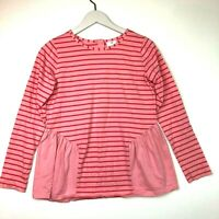Hanna andersson striped long sleeve ruffled top pink size 160 US 12-14