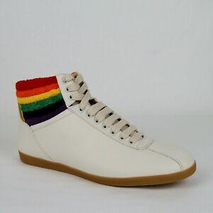 New Authentic Gucci Men's Cream Leather Rainbow Hi-top Sneaker 473375 9080