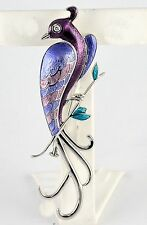 Nicole Barr Sterling Silver Peacock Pin Diamond Eye Purple Pink Enamel