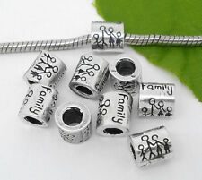 1PC Silver Tibetan European Charm Spacer Beads Fit Bracelet Family Gift 9x8mm