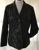 JOBIS stylishe sehr leichte Damen Jacke Blazer braun Gr 44 Leder Optik gefüttert