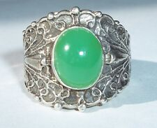 Chrysoprase 10x8mm Cab Cigar Band USA Made Sterling sz 9.25 (fits sz 9-8.75)