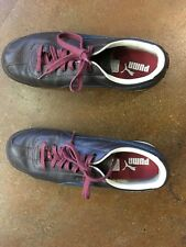 RARE PUMA Brown Leather Blue Logo Shoes Mens Size 10.5 US