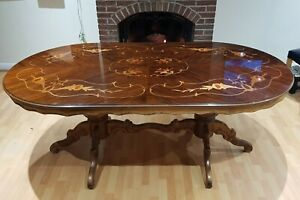 Impressive carved wood inlay detail vintage Oriental style dining table
