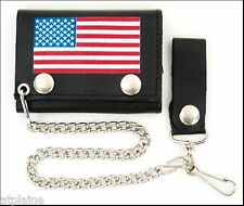 Portefeuille cuir chaîne US FLAG PM - Style BIKER HARLEY