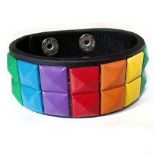 Gay Pride Bracelet Leather Stud Double Studs