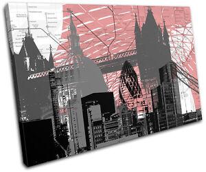 London Britain Abstract Modern Urban SINGLE CANVAS WALL ART Picture Print