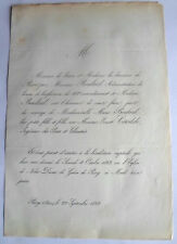 de PRIVEZAC  Marie BOULARD  Ernest CIRODDE 1862 genealogie Faire Part Mariage