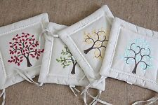 100% Linen Embroidered Square Decorative Cushions & Pillows