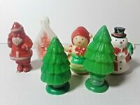 Lot of 6 Vintage CHRISTMAS SANTA CLAUS PLASTIC CANDY CONTAINERS H.F.C. BARNS
