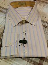 Camicia uomo vintage NUOVA beige righe azzurro/lilla taglia collo 40 anni 80/90