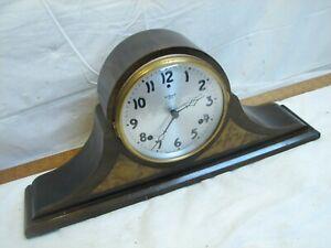 Vintage Gilbert Wood Burl Tambour Camel Back Shelf/Mantle Two Chime Clock w/Key