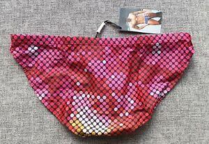 "MENS Swimming Bikini Briefs Trunks Polyester AUS L 34"" 85cm Disco Pink Red NEW"