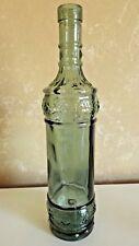 Vintage  Green Circular Design Tinted Glass Bottle 12 1/2 Inch  CL37-9