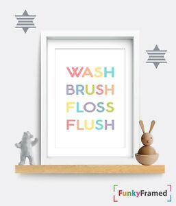 Kids Bathroom Print Wash Brush Floss Flush Funny Wall Art Toilet Decor Fun Gift