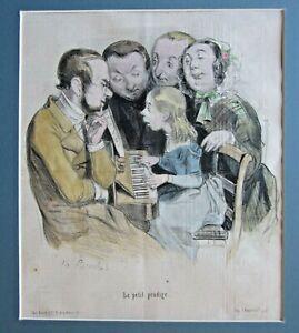 1846 French Music Caricature Piano Child 'Prodigy' Bouchot Le Petit Prodige Fun!