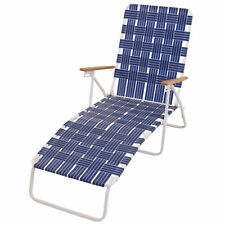 Rio Brands Steel Folding Web Chaise Beach Lawn Pool Lounge Chair, Blue (Used)