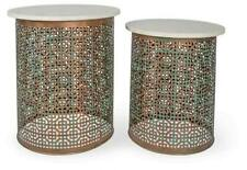 Set of 2 Marble and Iron Side Tables