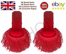 Red Shoulder Silk Marching Band Epaulette Fringe WIth Button Hole
