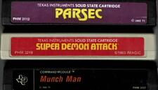 TI-99/4A LOT OF 3 CARTRIDGES TESTED PARSEC, SUPER DEMON ATTACK, MUNCH MAN