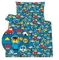 Baby toddler cot cot bed set duvet cover pillowcase 100%cotton blue vehicle boy