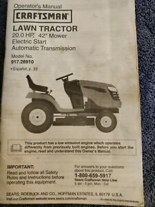 """Owner's Manual Sears Craftsman 20.0 HP 42"""" Lawn Tractorl 917.28910 auto transmis"""
