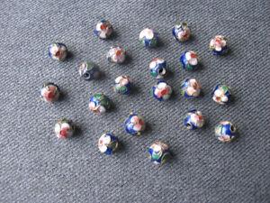 20 pcs Vintage enamel cloisonne flowers & leaves blue metal loose beads
