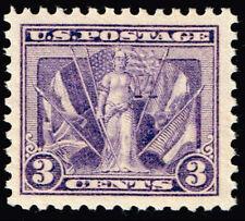 1919 3c Allies Victory, World War I, Violet Scott 537 Mint F/VF NH