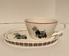 GRACE Teaware SET Tea Cup & Plate Saucer Christmas Scottish Terrier Dog Plaid