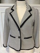 Cynthia Rowley Striped Black White Womens Blazer Stretch Career Small