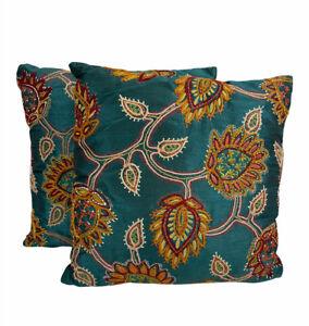 Pier 1 Vtg Boho Pillows Set of 2 India Satin Blue Multi Embroidered 16 x 16