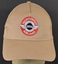 Beige Northwest Airlines NWA Embroidered Baseball Hat Cap Adjustable Snapback