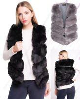 Womens Faux Fur Gilet Bodywarmer Soft Fluffy Waistcoat Jacket Size 8 10 12 14