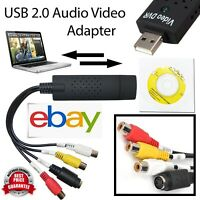 USB 2.0 Audio TV Video VHS to PC DVD VCR Converter Easy Capture Card Adapter UK