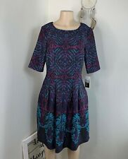 Julian Taylor dress size 12 purple blue aline fit flare party cocktail formal