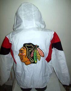 CHICAGO BLACKHAWKS Starter Hooded Half Zip Pullover Jacket WHITE S M L XL