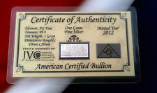 5 ACB Silver 1 GRAM INGOT Bars 99.9 Bullion Pure Ag W CERTIFICATE AUTHENTICIY +