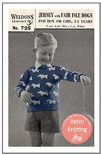 Fair Isle escocés Perro Suéter Childs década de 1940 Tejer patrón copia