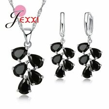 925 Sterling Silver Black Waterdrop Dangle Crystal Necklace And Earring Set *UK*